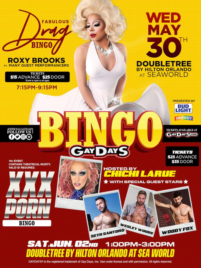 Join us for Fabulous Drag Bingo or ChiChi LaRue's Porn XXX Bingo!