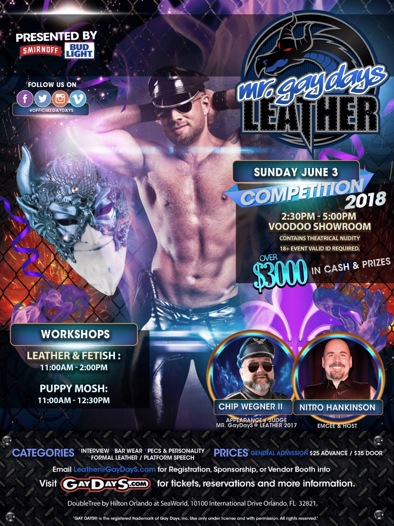 The Mr GayDayS® Leather Competition on Sunday, June 3rd