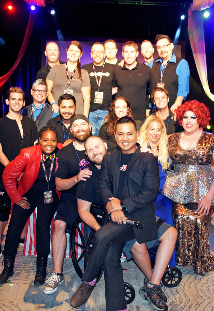 GayDays® 2017 Entertainment Group Photo inside the Big Top Showroom.